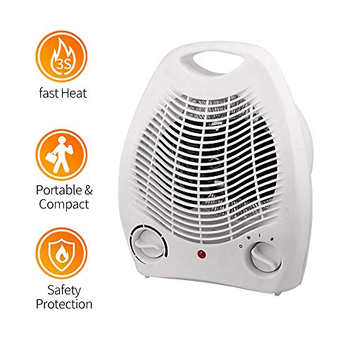 Fdgnb Space Heater 1000W/2000W Ceramic Electric Heater Quick Heat with Thermostat & Tip Over Protection, Portable, for Home Office Bedroom