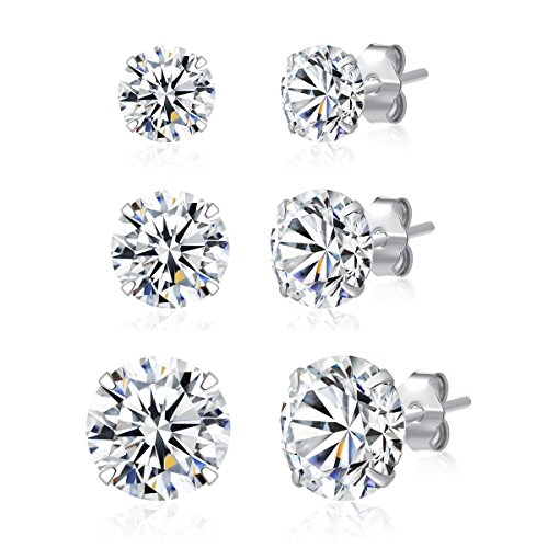 3 Pairs 925 Sterling Silver Cubic Zirconia Stud Earrings 4mm-6mm-8mm Set Men Women ()