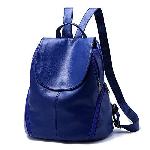 New Sport Side Backpack Soft Casual Sacs De WineRed Main Lady Leather Élégant Student Sac à HMWHJP SapphireBlue w6Pg8xXqU