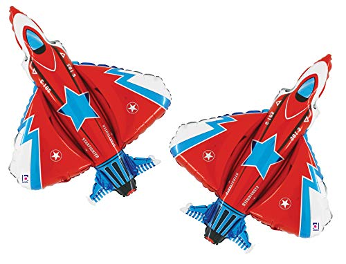 Set of 2 Red White and Blue Fighter Jet Jumbo 38