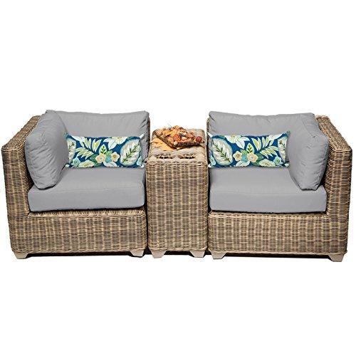 Cape Cod Wicker (TK Classics CAPECOD-03b-GREY Cape Cod 3 Piece Outdoor Wicker Patio Furniture Set, Grey)