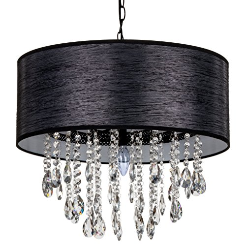 Amalfi Décor Large Luna 5 Light Crystal Chandelier with Drum Shade, Beaded Plug-In Pendant Ceiling Lighting Fixture (Black) (Shaded Candle)