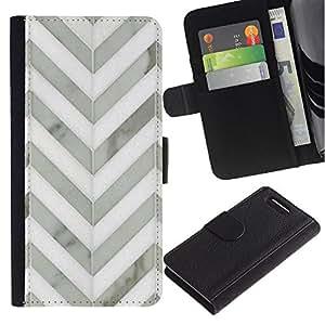 Sony Xperia Z1 Compact / Z1 Mini / D5503 Modelo colorido cuero carpeta tirón caso cubierta piel Holster Funda protección - Chevron White Gray Metal 3D Pattern