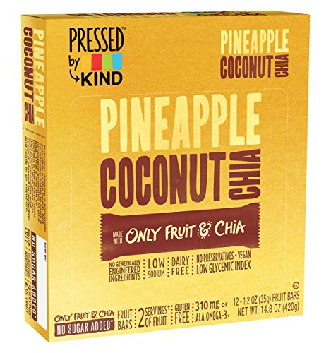Bar Pineapple - Pressed by KIND Fruit Bars, Pineapple Coconut Chia, 12 Count