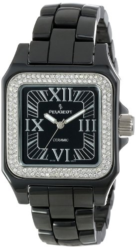 2013 Black Dial - Peugeot Women's PS4897BK Swiss Ceramic Swarovski Crystal Black Dial Watch