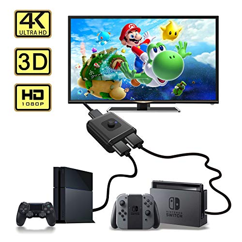 ABLEWE Aluminum Bidirectional HDMI Switcher,hdmi Switch Splitter 1 in 2 Out or 2 in 1 Out Manual HDMI Hub Supports 4K 3D 1080P for HDTV Blu-Ray-Player Fire Stick Xbox HDMI Switch 4k HDMI Splitter