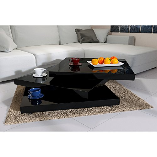 Deuba Mesa de Centro Moderna y Negra mesita lacada Brillante 60 x 60 cm bandejas giratorias 360° Comedor salon Oficina