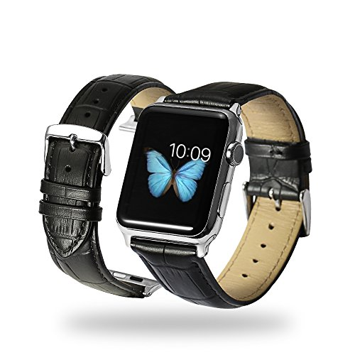 iStrap Alligator Grain Calf Leather Watch Band fit Apple iWatch 38mm Model Steel Prev Tang (Black Belt Watch)