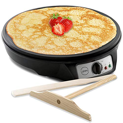 Lumme Crepe Maker – Nonstick 12-inch Breakfast Griddle Hot Plate Cooktop with Adjustable Temperature Control and LED…