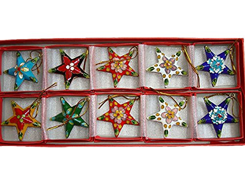 Sunkey ARTIST Collectibles 10pcs Chinese Handmade Cloisonne Enamel Star Christmas Decoration Charms