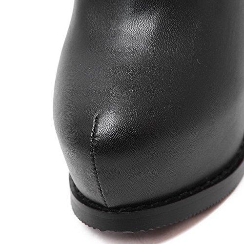 VogueZone009 Damen Schließen Zehe Blend-Materialien Niedrig-Spitze Hoher Absatz Stiefel, Schwarz, 35.5 EU