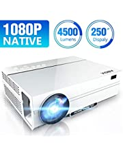ABOX Projector 1080P Native, 4500 Lux Full HD Projector Native 1920x1080P LED Projector Support 4K, LCD Projector 4000:1 Contrast Compatible with HDMI/VGA/TF/AV/USB/PS4/TV Box, Dual HD and USB Inputs