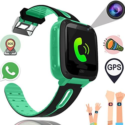 Kids Smart Watch Phone for Boys Girls with GPS Tracker Synmila Smart Wrist Watch Phone with SIM Fitness Trackers with Camera Touch Screen Anti-lost Wearable Phone Watch Bracelet for iOS Android