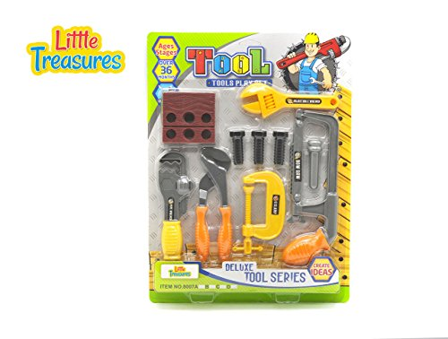 Little Treasures Tool Series from Complete with Vice, Clamp, Adjustable Wrench, Bow Saw, and Pipe Wrench, Screws, and Wooden Piece -Play Set for Children Over 36 Months.