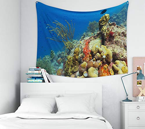 Capsceoll Tropical-Coral-Reef Tapestry,Tapestry for Men, 60x50Inches Rich Tropical Colorful Underwater Coral Reef Exotic Underwater Wildlife Scuba Diving in The Blue oce Tapestry Wall Hanging