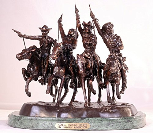 - American Handmade 100% Bronze Sculpture Statue Coming Through the Rye By Frederic Remington Medium Size 13.5