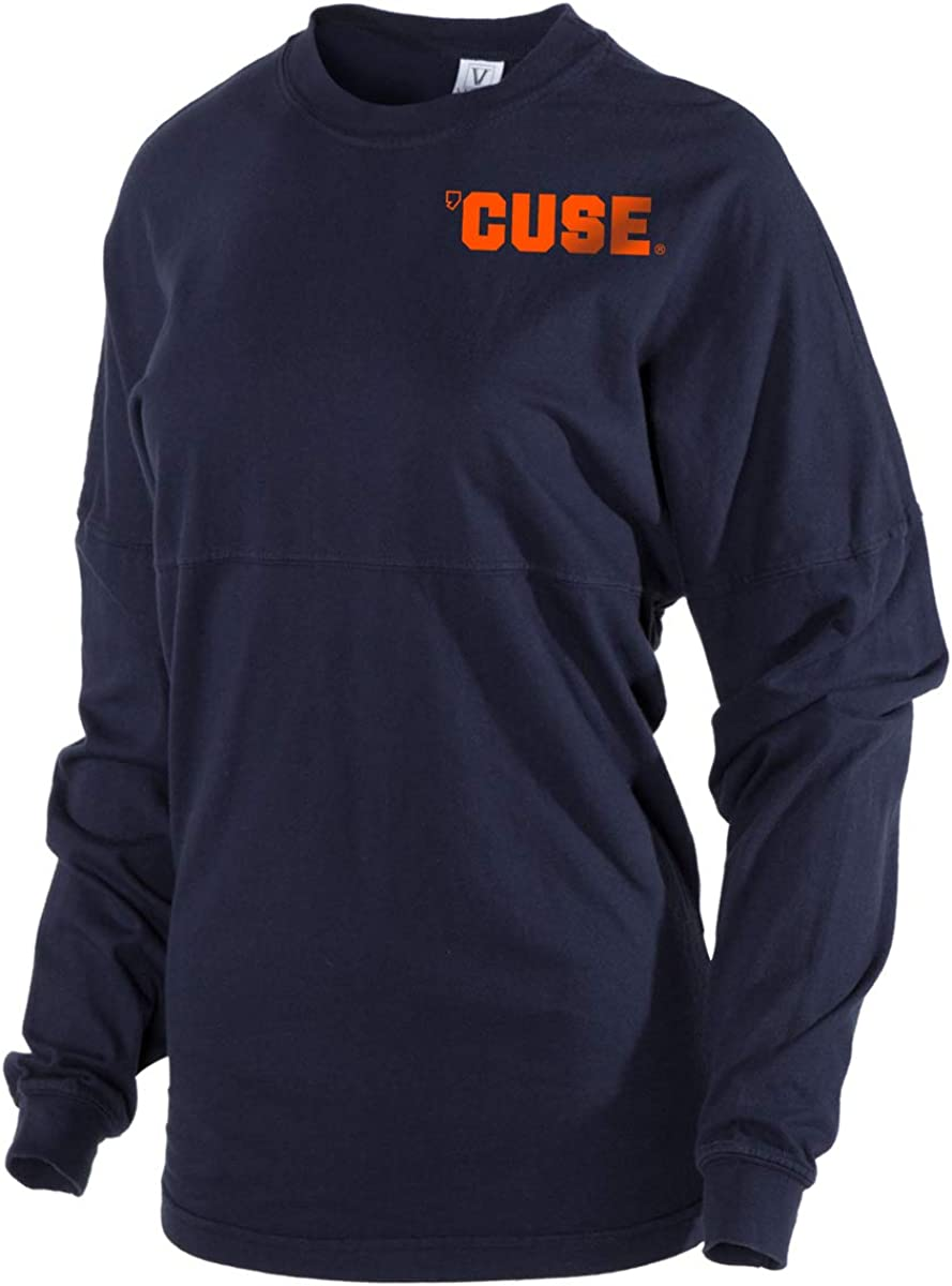 Womens CUSE Spirit Wear Jersey T-Shirt Official NCAA Syracuse Orange SU Otto the Orange DOWN THE FIELD