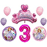 Disneys Sofia The First 3rd Happy Birthday Party Balloons Decorations Supplies Bundle By NorthStar