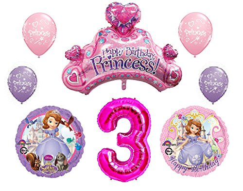Disney's Sofia the First 3rd Happy Birthday Party Balloons Decorations Supplies Bundle by NorthStar ()