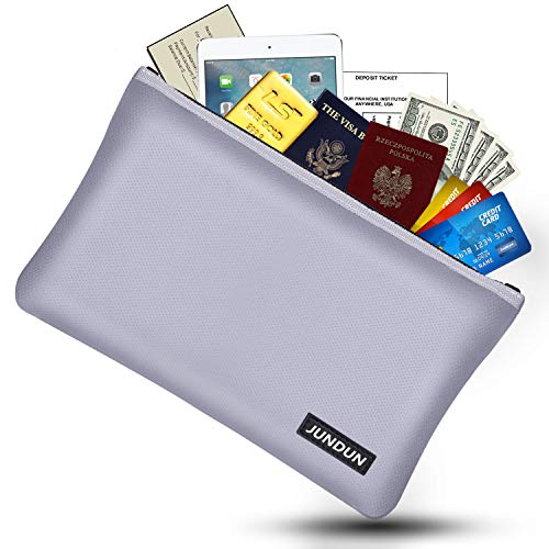 """JUNDUN Fireproof Money Bag, 10.6""""x6.7"""" Fire and Water Resistant Cash Bag with Zipper Closure,Fireproof Safe Storage Envelope for Document,Passport,Jewelry"""