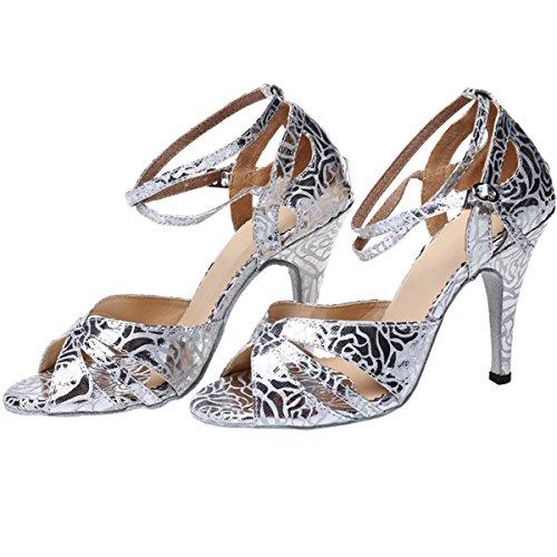 BYLE Alto 10cm Baile Sandalias Samba Fondo Blando Tobillo Baile de Onecolor Alta Modern Plata Zapatos Cuero Tacón Adulta Hembra Jazz de Zapatos de Latino de Zapatos de HWHw47qdnr