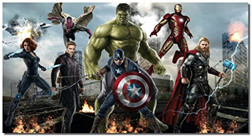 "Picture Sensations Framed Canvas Art Print, Marvel Avengers Age of ultron Super Hero, Captain America, Iron Man, Hulk, Thor, Black Widow, Hawkey - 36""x20"""