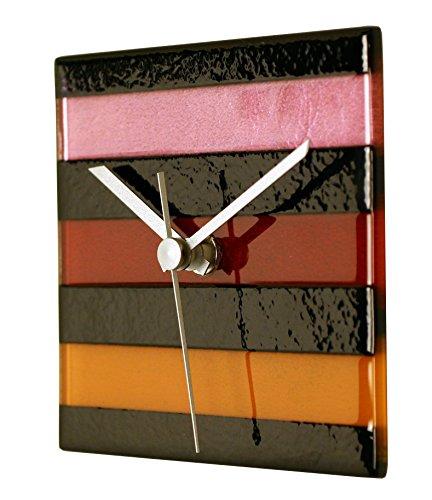 River City Clocks Square Multi-Color Glass Wall Clock-Warm Colors