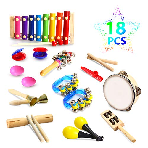 - Theefun Toddler Musical Instruments, Wooden Percussion Instruments with Tambourine, Xylophone and Drum 18pcs 12 Types , Kids Educational s & Learning Musical Toys for Boys and Girls
