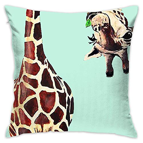 Uwwrticm Giraffe Wallpaper Decorative Throw Pillow Cases Cushion Pillowcase Cover 18 X 18 Inches for Living Room Bedroom Car