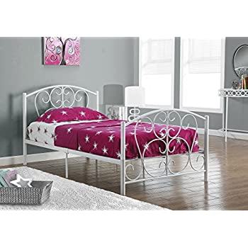 Amazon.com: Monarch Specialties White Metal Twin Size Bed Frame Only ...