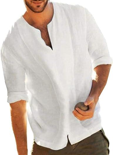 Hibote Camisas de Manga Corta de Hombre Casual Camisas de Media Manga Ancha Abiertas con Cuello en V Color Liso Blusa de Lino Vintage de algodón Blanco XXL: Amazon.es: Ropa y accesorios