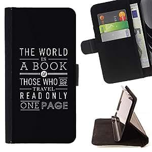 Momo Phone Case / Flip Funda de Cuero Case Cover - Libro de lectura Página Texto Blanco Negro - Sony Xperia M5