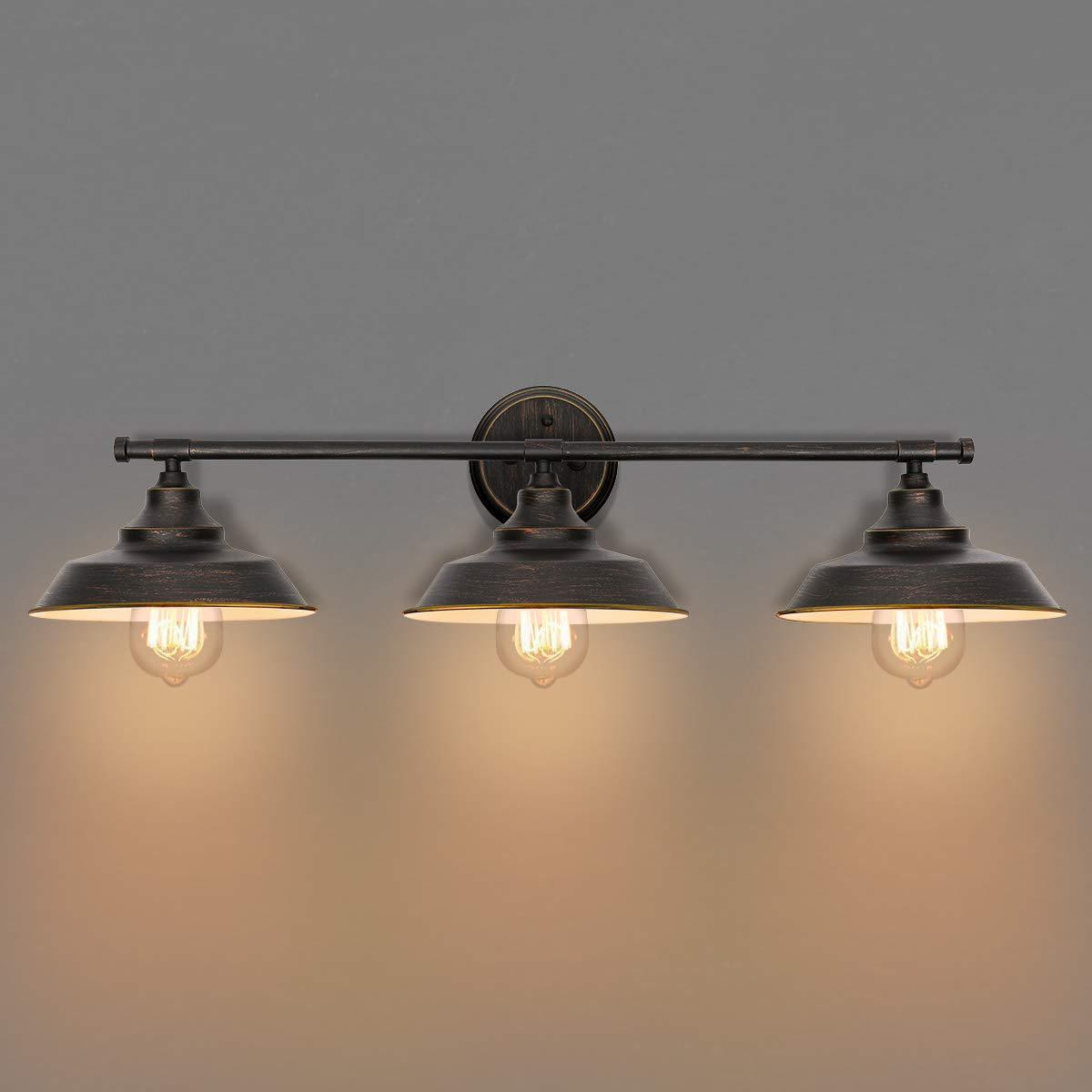 KingSo Bathroom Vanity Light 3 Light Wall Sconce Fixture Industrial Indoor Wall Mount Lamp Shade for Bathroom Kitchen Living Room Workshop Cafe