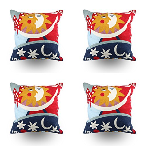 Hodeco Decorative Embroidery Throw Pillow Covers 18x18 Floor Pillows Cover for Couch Bed Room 100% Cotton Cushion Cover Throw Pillow Case Picasso Abstract Painting Sun and Star Embroidered, Set of 4 ()