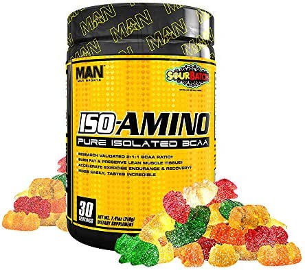 Man Sports Iso Amino Pure Isolated BCAA. Fat Burning Sour Batch Flavored BCAA Powder for Muscle Recovery and Lean Muscle Growth 30 Servings