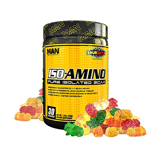Man Sports Iso Amino Pure Isolated BCAA. Fat Burning Sour Batch Flavored BCAA Powder for Muscle Recovery and Lean Muscle Growth (30 Servings)