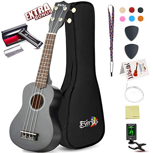 (Soprano Ukulele Beginner Pack-21 Inch w/Gig Bag Fast Learn Songbook Digital Tuner All in One)