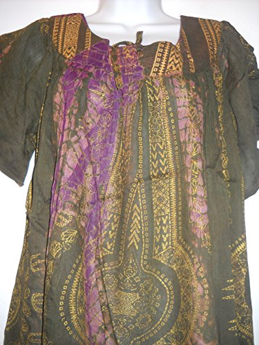 NWT SACRED THREADS tie dyed dashiki viscose TOP TUNIC One size fits XL 1X