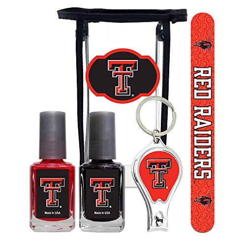 Texas Tech Red Raiders Manicure Pedicure Set with 7-Inch Nail File, Nail Clippers, 2 Nail Polishes in Team Colors, and Toiletry Bag for the Whole Kit. NCAA Gifts and Gear for Women