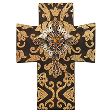 Manual Symbol of Faith Ornate Gold Jeweled Peace Wall Cross - 4.5x6