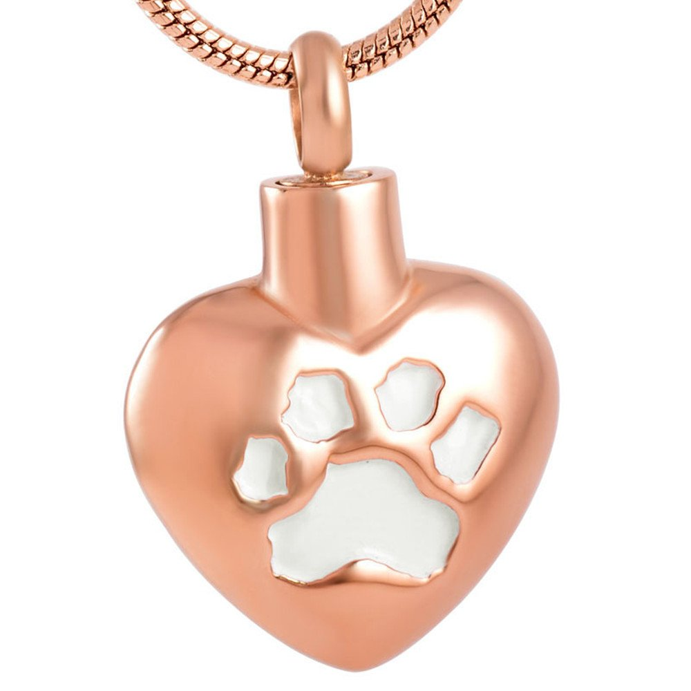 SS9187 Paw Engrave Heart Pet Memorial Necklace Dog/Cat Cremation Ashes Keepsake Urn Pendant Necklace (rose+white)