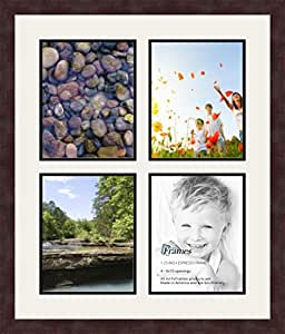 ArtToFrames 1.25-Inch Espresso Picture Frame with 4 Openings of 8 by 10-Inch and a Super White Top Mat and Black Bottom Mat
