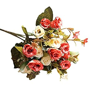 Litetao 2017 Fashion Artificial Silk Fake Flowers Roses Floral Decor/Outdoor/Festival Gift/Garden Wall Decoration/Bridal Bouquet Wedding Party Home Decoration 13