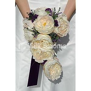 Stunning Ivory Rose Cascading Bridal Bouquet w/ Heather & Allium 32