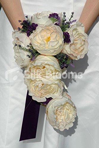 Stunning-Ivory-Rose-Cascading-Bridal-Bouquet-w-Heather-Allium