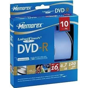 Memorex DVD Recordable Media - DVD-R - 4.70 GB - 10 Pack Spindle 03133