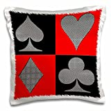 3dRose pc_218681_1 Poker Four of a Kind Aces Cards Design Best Seller Pillow Case, 16'' x 16''