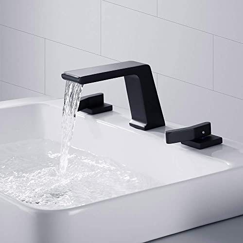 BULUXE Waterfall Widespread Bathroom Sink Faucet, Contemporary Waterfall 3 hole Double-Handle Bathroom Sink Faucet Solid Brass Matte Black