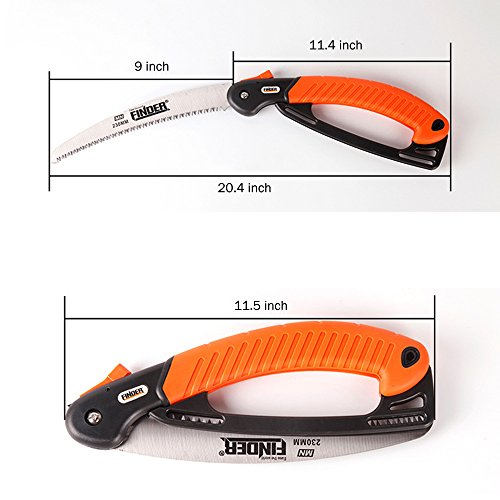 Heavy Duty Professional Folding Pruning Saw with 9-inch Curved Blade, Best Folding Hand Saw for Pruning Trees, Trimming Branches, Camping, Clearing Forest Trails. by Janchi (Image #5)