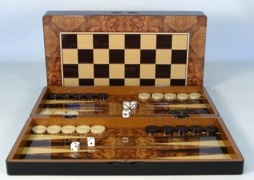 Backgammon Set - Burlwood Decoupage